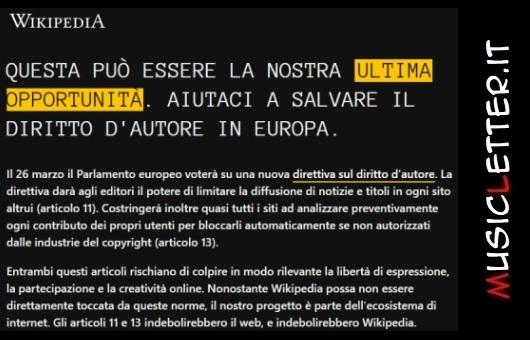 L'appello di Wikipedia circa il voto del Parlamento europeo sulla nuova direttiva del diritto d'autore   Notizie