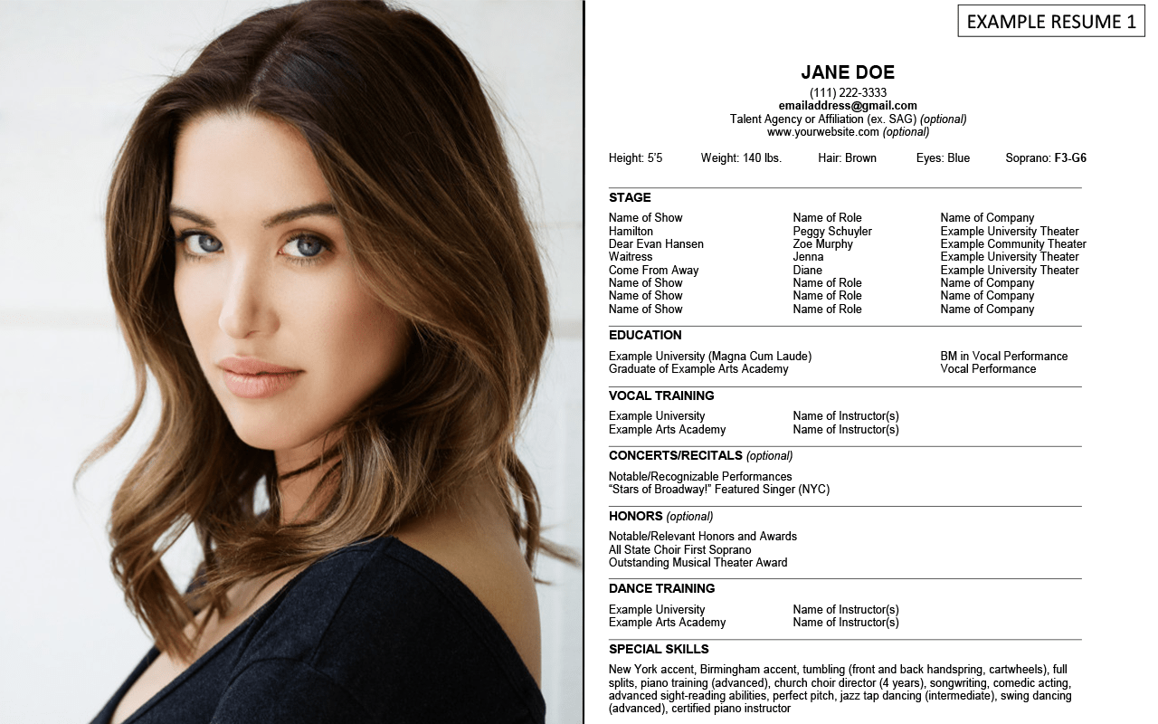 headshot and resume examples