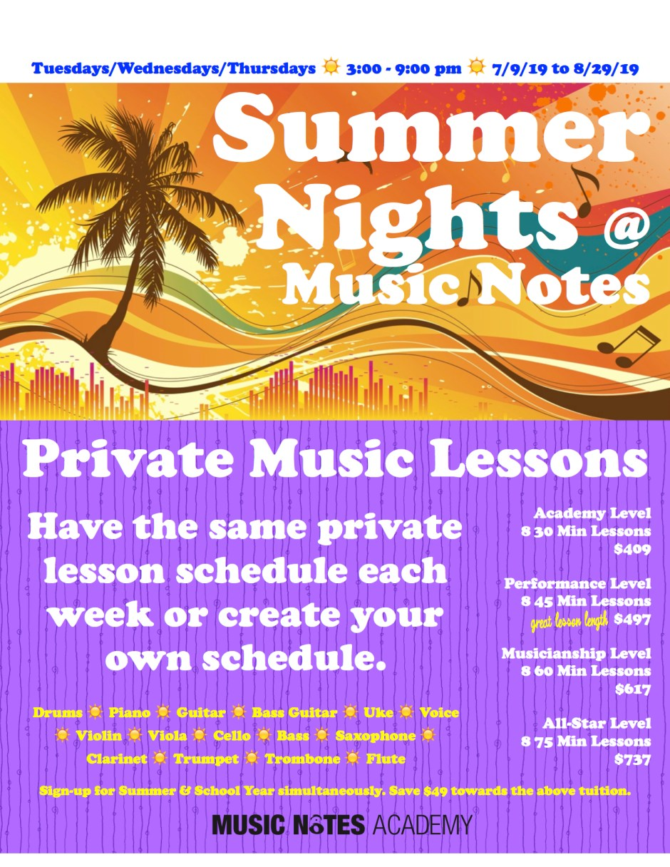 private music lessons summer east brunswick, nj
