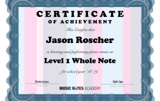 Music Notes' Achievement Program Student