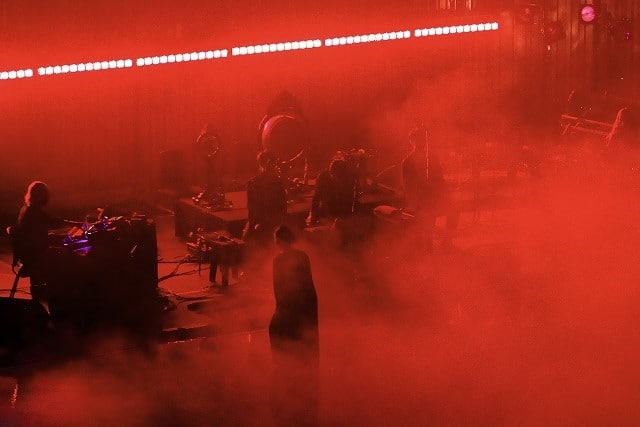 Tim Hecker and Tokyo Gakuso on stage at the Barbican (photo: Marilyn Kingwill/Barbican)