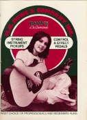 1973, Red & white Rowe DeArmond catalogue, pickups and effects, eight pages