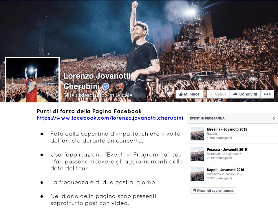 Esempi Pagine Facebook Musicisti Cantanti Band Lorenzo Jovanotti Cherubini