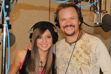 Tyler Reese in the studio with dad, Travis Tritt