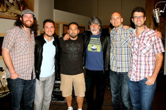 Pictured (L-R): Eli Young Band's James Young, Mike Eli, Producer Michael Knox, Alabama's Randy Owen, Eli Young Band's Jon Jones and Chris Thompson.