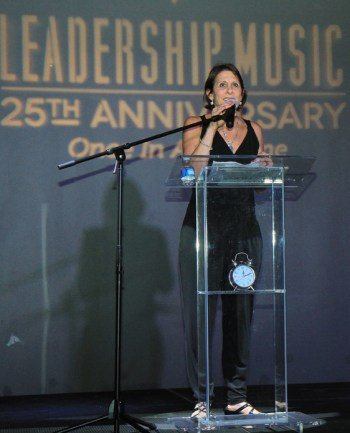 Leadership Music Executive Director Debbie Linn addresses the crowd. Photo: Bev Moser, Moments By Moser