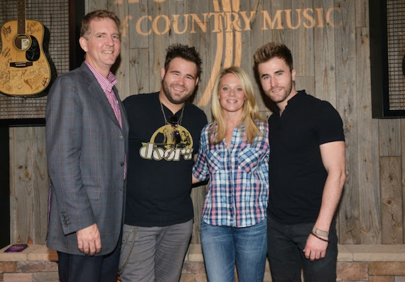 Pictured (L-R); Greg Hill, Hill Entertainment Group, Zach Swon, Tiffany Moon, ACM EVP/Managing Director, Colton Swon. Photo: Michel Bourquard/Courtesy of the Academy of Country Music