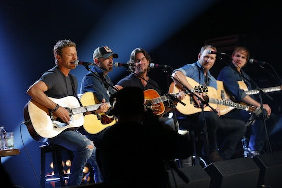 """Pictured (L-R): Dierks Bentley is joined by Jon Randall, Brett James, Jim Beavers, and Ross Copperman during a special taping of public television's """"Front and Center"""" celebrating the 10th anniversary of the CMA Songwriters Series. Photo: Donn Jones/CMA"""