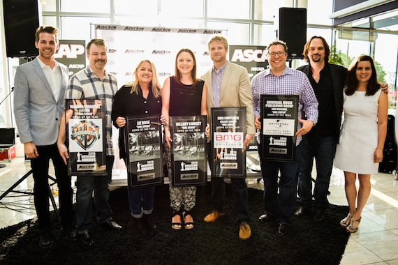 """Pictured (L-R): MusicRow's Eric T. Parker, Warner/Chappell's Ben Vaughn, """"Girl Crush"""" songwriters Liz Rose and Hillary Lindsey, BMG's Kos Weaver, Universal Music Publishing Group's Kent Earls, and MusicRow's Sherod Robertson and Sarah Skates. Not pictured: Lori McKenna. Photo: Bev Moser."""
