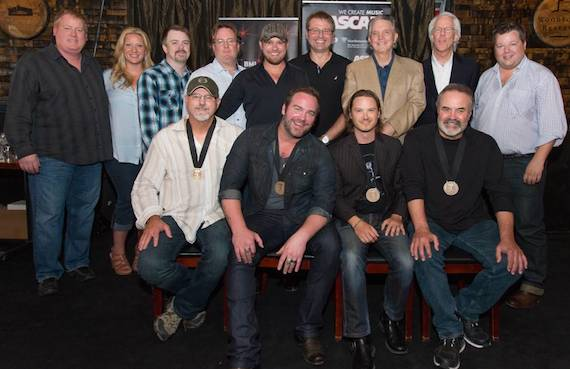 Pictured Back Row (L-R): ASCAP's Mike Sistad, Big Yellow Dog's Danni O'Neill, Amylase's Ben Vaughn and Whit Jeffords, producers Kyle Jacobs and Matt McClure, Curb Records' Mike Curb and Jim Ed Norman, BMI's Bradley Collins. Front Row: BMI songwriter David Frasier, BMI singer/songwriter Lee Brice, songwriter Josh Kear, BMI songwriter Ed Hill