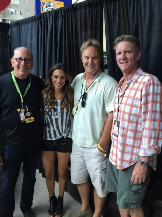 """Elektra Records artist Jana Kramer helped kick off CMA Music Festival on Thursday with a performance at the Bud Light Stage where she performed her new single """"I Got The Boy."""" After the show, Jana met backstage with Warner Music Nashville President & CEO, John Esposito, Kramer, WMN EVP of A&R, Scott Hendricks and manager Greg Hill."""