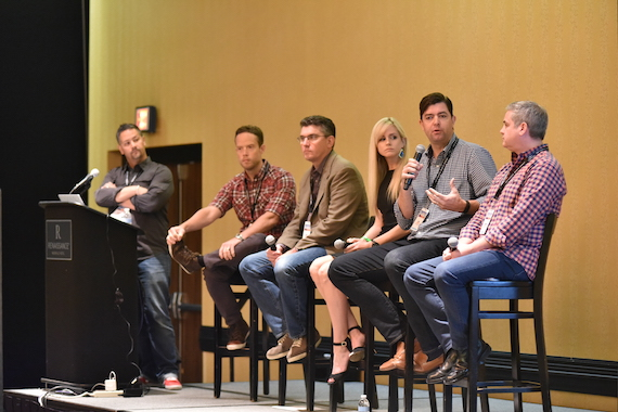 From left: Wayne Leeloy (G7 Entertainment Marketing), Brad Turcotte (Universal Music Group Nashville), Eric Scheirer (Bose), Megan Sykes (CAA), Jim Stabile (Vector Management), and Barry O'Connell (Marketing Professional) speak during the Brand & Strategic Partnerships Summit.