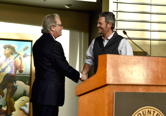 "NASHVILLE, TN - JUNE 06: CEO of the Country Music Hall of Fame and Museum Kyle Young and singer-songwriter Blake Shelton attend the debut of the ""Blake Shelton: Based on a True Story"" Exhibit at Country Music Hall of Fame and Museum. Photo: John Shearer/Getty Images for Country Music Hall Of Fame & Museum"