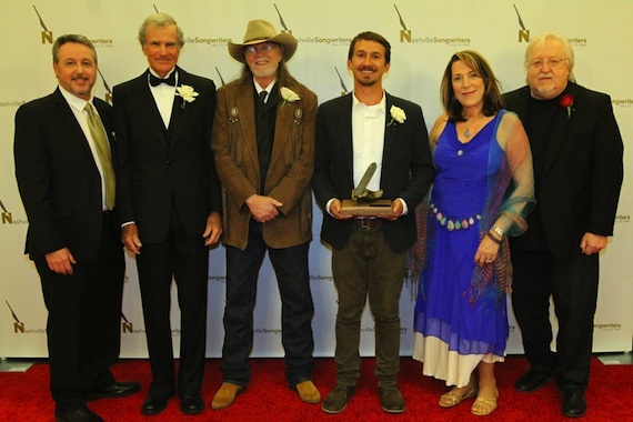 NaSHOF Executive Director Mark Ford; Hall of Fame Inductees Bob Morrison, Aaron Barker, Will Van Zandt accepting for Townes Van Zandt, Beth Nielsen Chapman and NaSHOF Board Chair and Hall of Fame member Pat Alger. Photo: Bev Moser