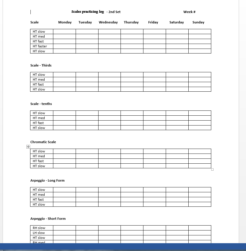 image about Printable Music Practice Log identified as Scale Charts and Varieties Hunter Mill Tunes Studio
