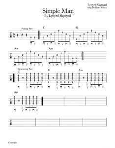 Sheet music for simple also easy guitar songs man by lynyrd skynyrd musika blog rh musikalessons