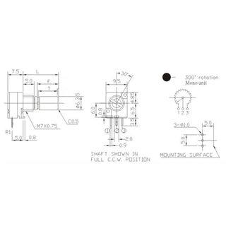 Alpha Potentiometer 9mm 20k W, 2,20