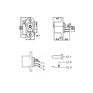 DC power jack 2,1mm with flange, 0,30