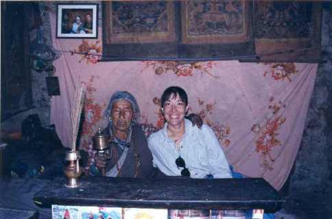 Irene with holy woman in Manang
