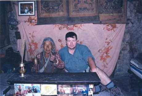 Billy with holy woman in Manang