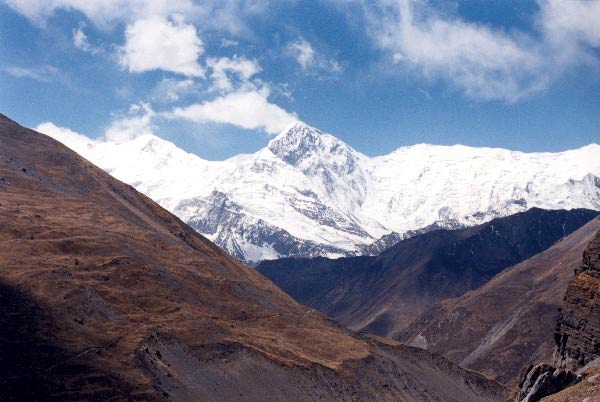 Looking back at the way we came from with a view of Annapurna II