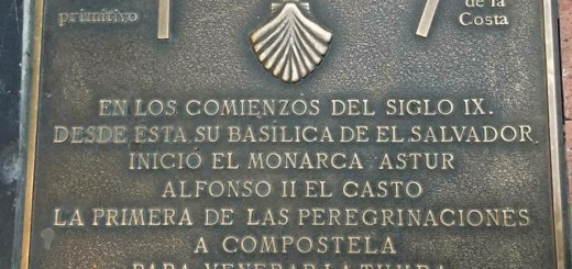 The Camino Primitivo floor plaque outside the Cathedral in Ovideo