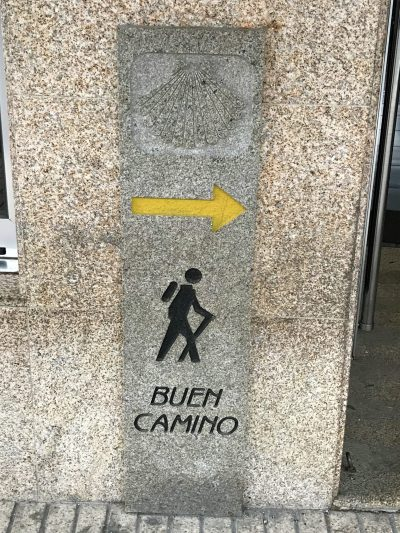 Camino marker in O Pedrouzo