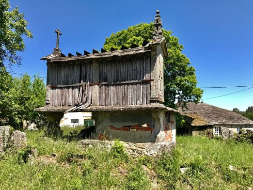 Horreo-Every hórreo (granary) has a cross on the roof. Crosses were used to ward off evil spirits.