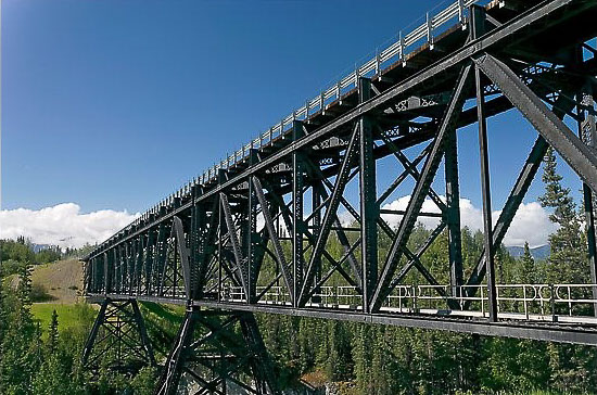 Looking up at the Kuskulana Bridge