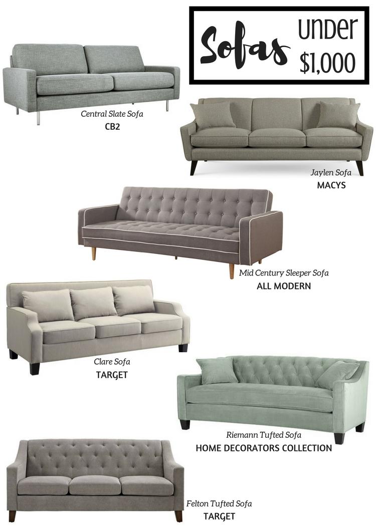 Sofas Under $1,000
