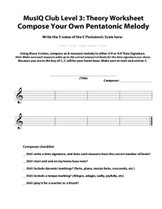 L3: Composition Pentatonic Melody Part I