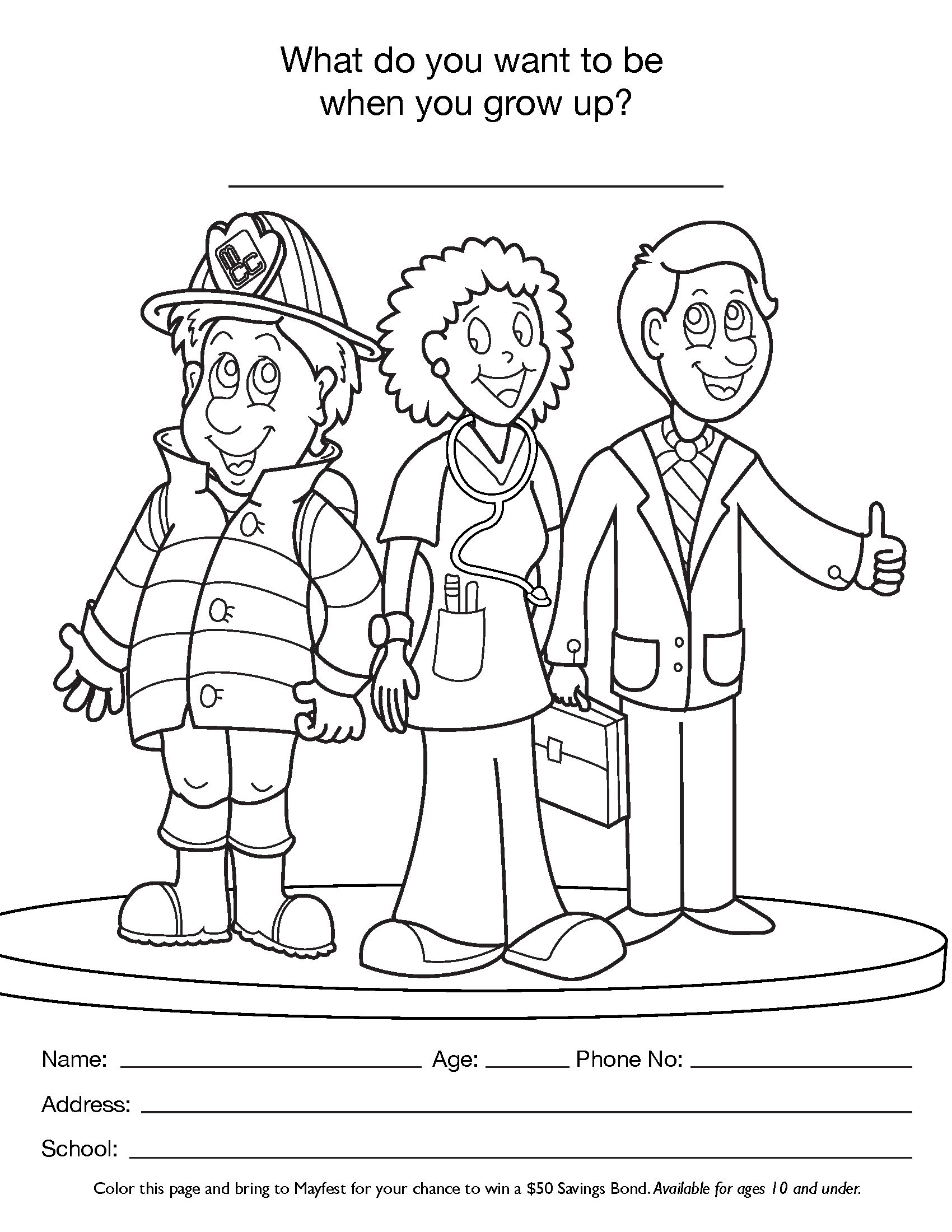 Free Printable Career Day Coloring Pages