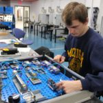 A Muskegon Community College student learns pneumatics in the new Sturrus Technology Center Automation Lab.