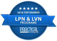 Badge recognizing 2018 Top Ranked LPN & LVN Programs