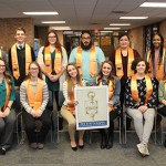 Phi Theta Kappa International Honor Society's Beta Xi Xi Chapter held its 28th induction ceremony on March 14 at Muskegon Community College. Twelve new inductees were recognized at the event in the Blue and Gold Room. The new inductees are: (front row, left to right) Mychaela Knoll, Kristina Ekkel, Autumn David, Kaitlyn Miller, Brianna White and Allison Wernstrom. (back row, left to right) Nathaniel White, Collin Nelson, Brenda Humphrey, Nickolas Ponce, Erika Sandoval and Zhane Harris.