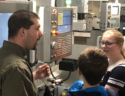 MCC Applied Technology faculty member Nathan Bender speaks to students at the STEM/Talent Pipeline event in the Sturrus Technology Center.