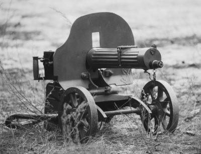Maxim's machine gun model 1910-30 on a wheeled Vladimirov's mount. PM M1910 was a heavy machine gun used by the Imperial Russian Army during WW I and Red Army during Russian Civil War and World War II