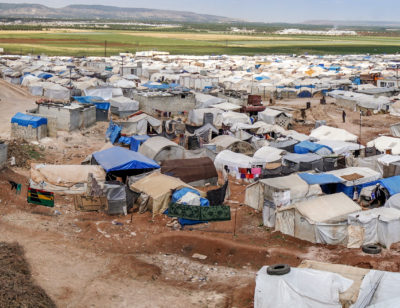 Refugee camp for syrian people on May 19, 2019 in Azez, Syria. In the civil war that began in Syria on 2011, 12 million people were displaced.