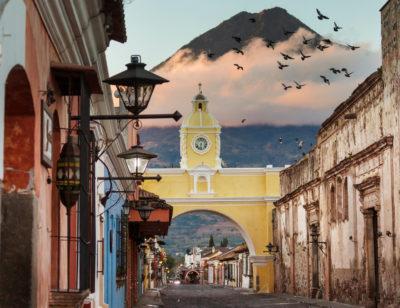 Colonial architecture in ancient Antigua Guatemala city,