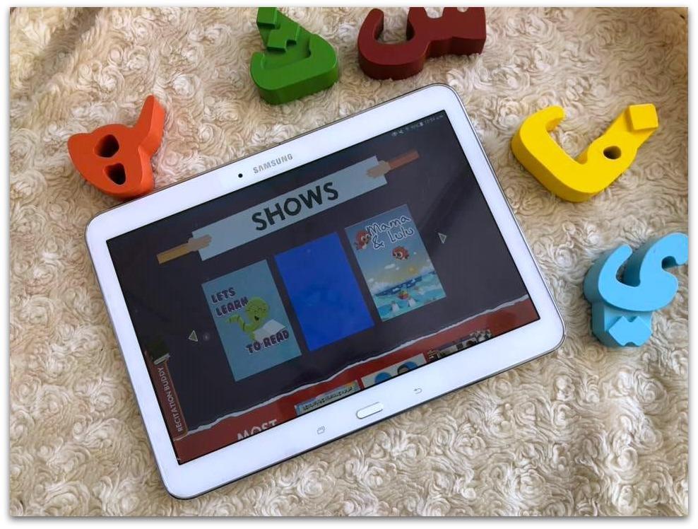 Samsung tablet showing Muslim Kids TV shows