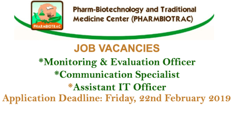 Mbarara University of Science and Technology- Job Advert- PHARMBIOTRAC