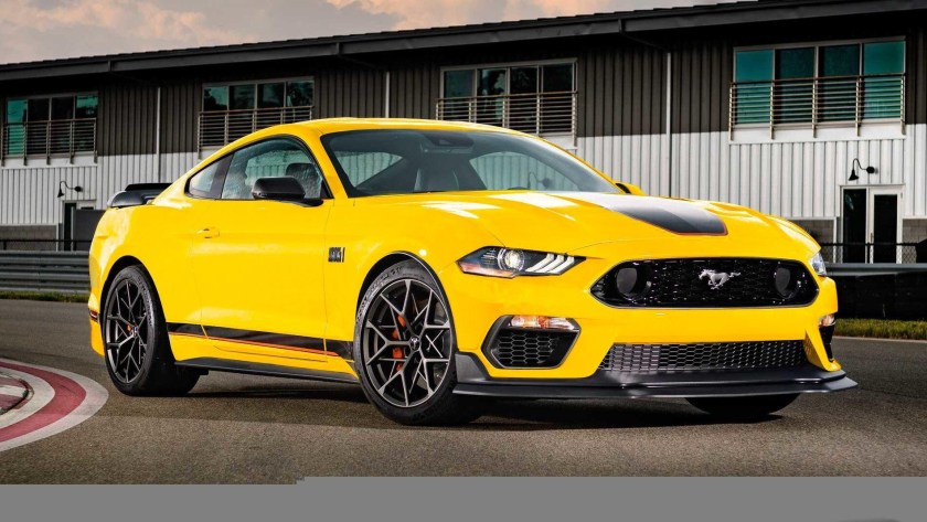 Yellow Ford Mustang Mach 1 Right Side View