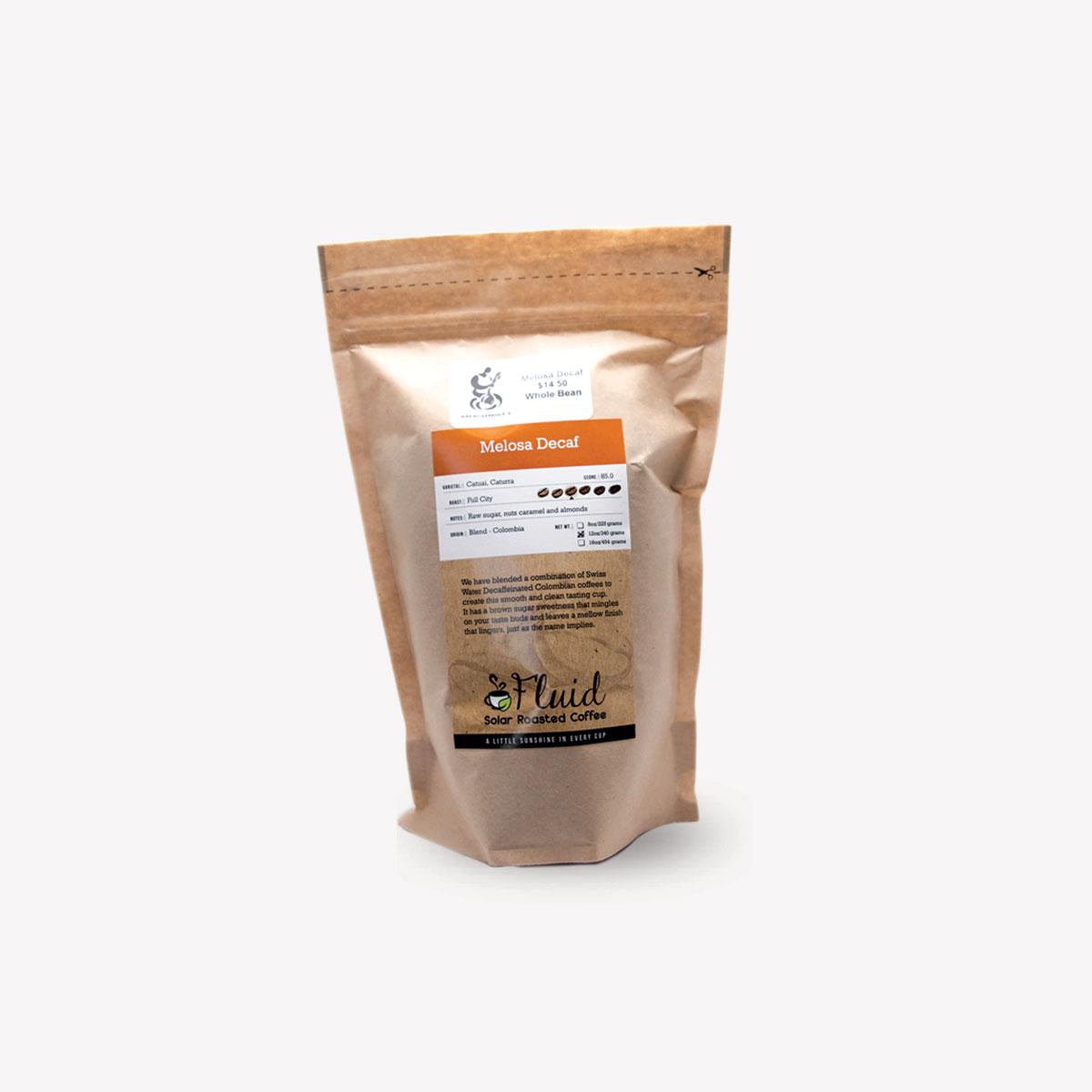 Fluid Solar Roasted Coffee Melosa Decaf Coffee