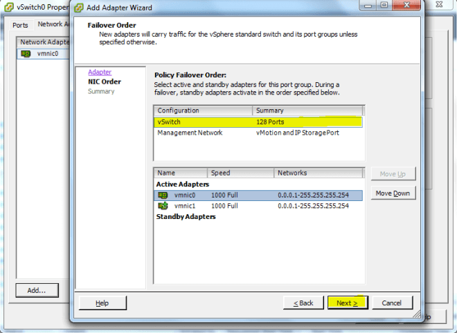 adapter failover order