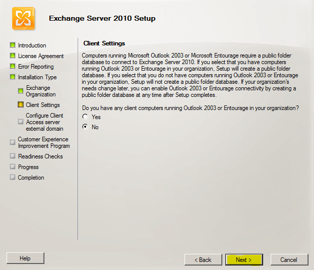 exchange client setting