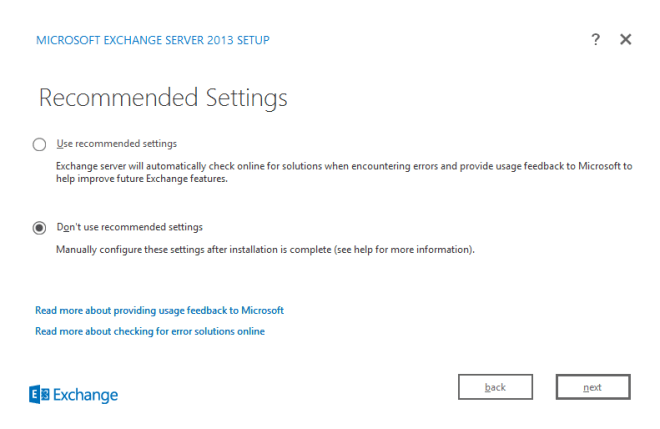 Recommended Settings