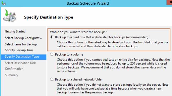 backup destination