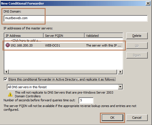 Create Conditional DNS Forwarding in Windows Server 2008