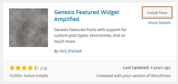 Show Related Posts using Genesis Featured Widget Amplified Plugin
