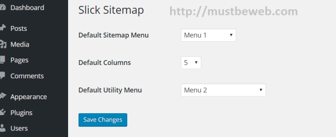 Slick Sitemap Plugin Setting Page in WordPress